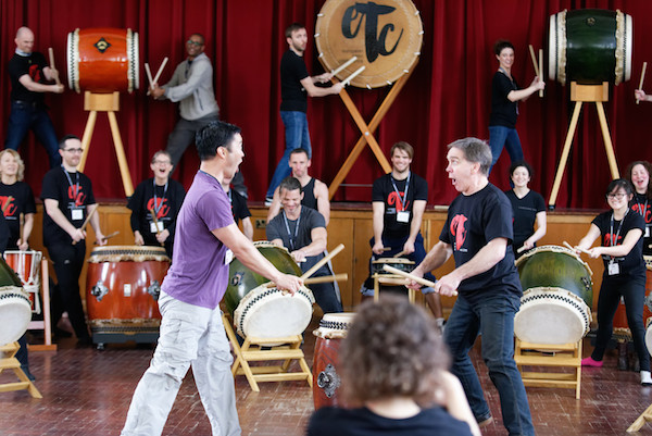 Delegates participating in workshops at the European Taiko Conference.